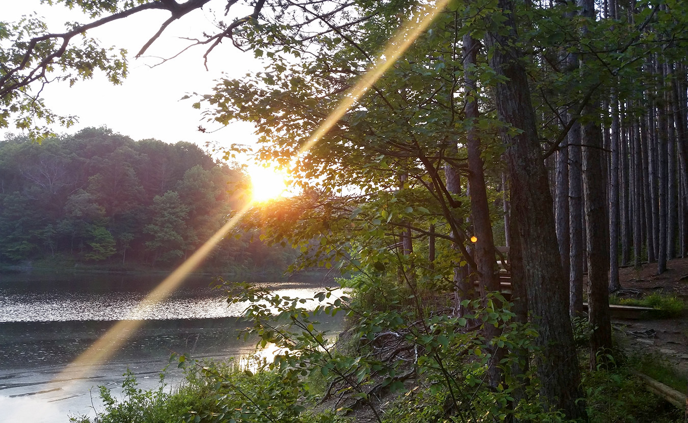 The Strahl Lake Trail wraps around a beautiful lake in Brown County State Park. | Photo by Miranda Addonizio