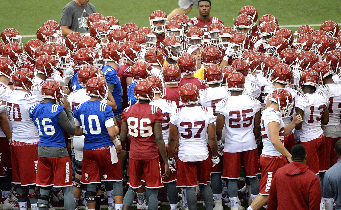 """What most people don't realize about the Indiana University football team, says Mangieri, is """"just how close we are…. I look at all the other guys in my senior class, and really the whole team, just like my family away from my blood family.""""   Photo by Mike Dickbernd"""