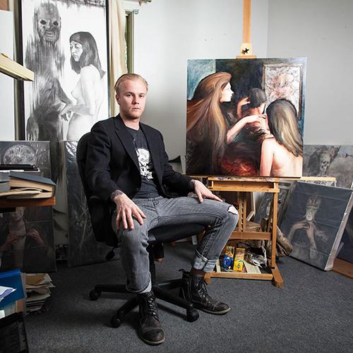 Painter Erik Probst in his studio. | Courtesy photo