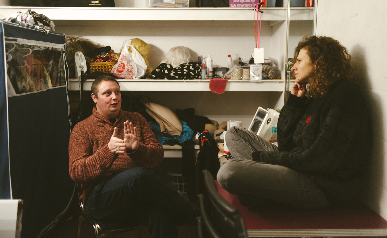 Patricio Battani, left, and Back Door co-owner Nicci Boroski talk in the bar's dressing room. | Photo by Natasha Komoda