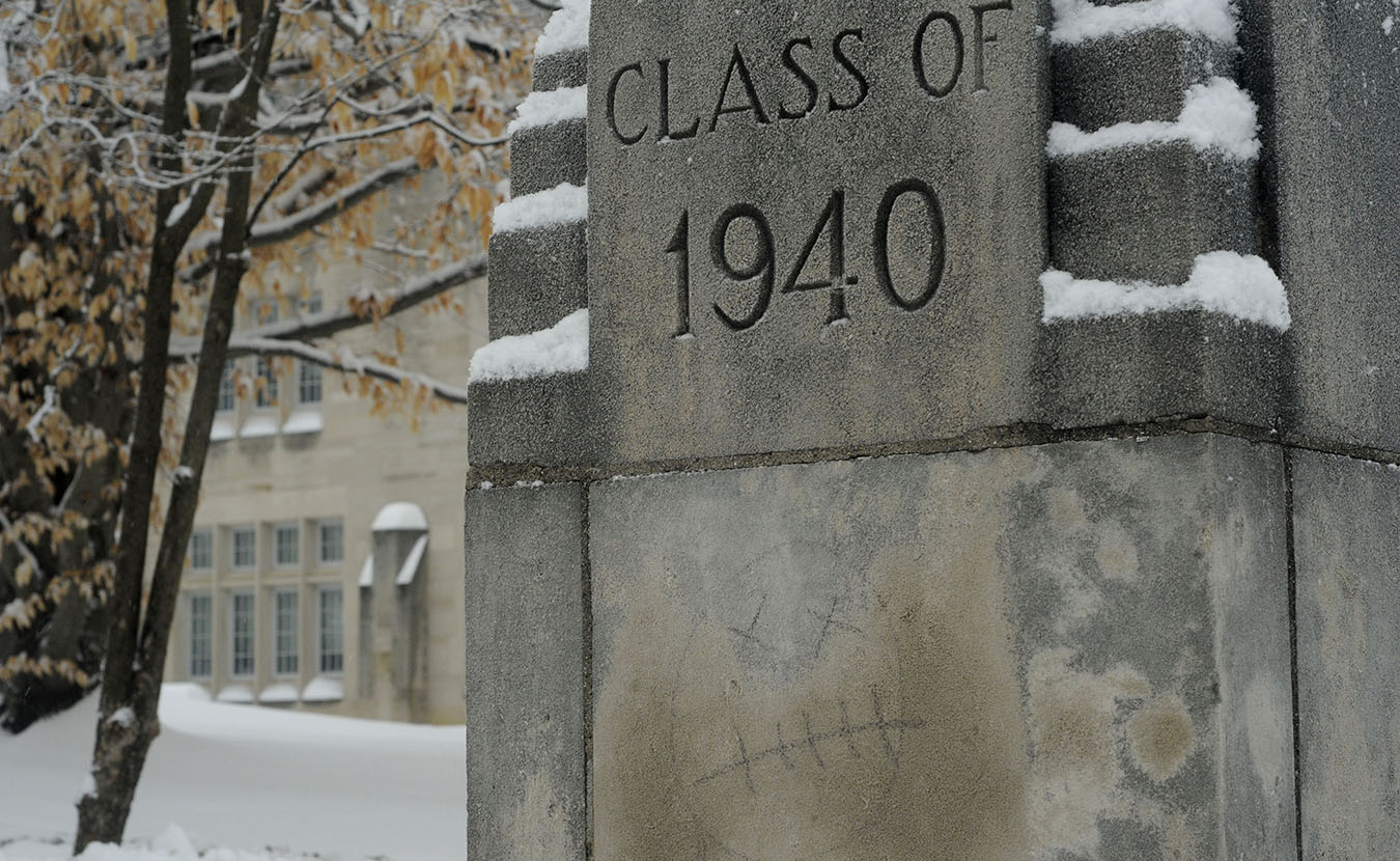 This one outside the former Indiana University School of Medicine building (now Myers Hall) might not be so popular, especially with the class of 1940 … but I wondered who had had a bad day? It stood out with the snow and the dark, heavy morning. | Photo by Ann Georgescu