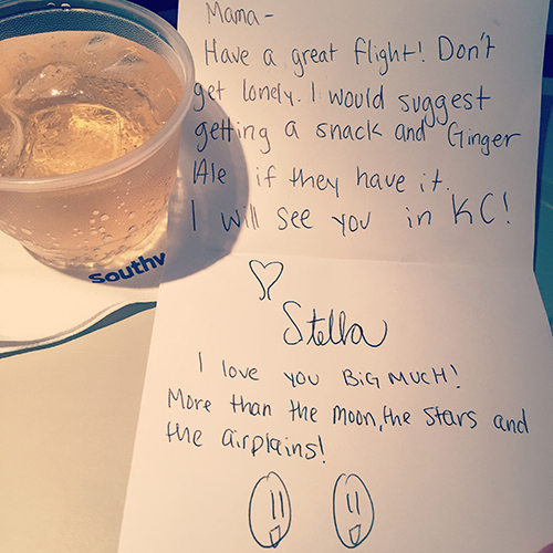 An encouraging note from Samantha's daughter, Stella. | Photo by Samantha Eibling