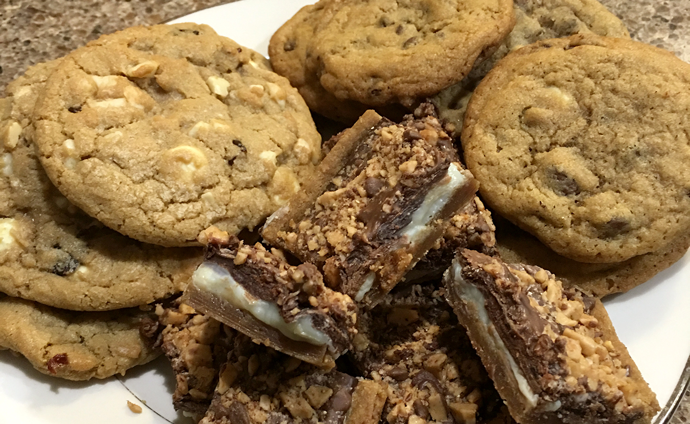Clockwise from left: Ruthie Cohen's White Chocolate Cherry Macadamia Cookies, Chocolate Chip Medley Cookies, and Toffee Bars make great treats. | Photo by Ruthie Cohen