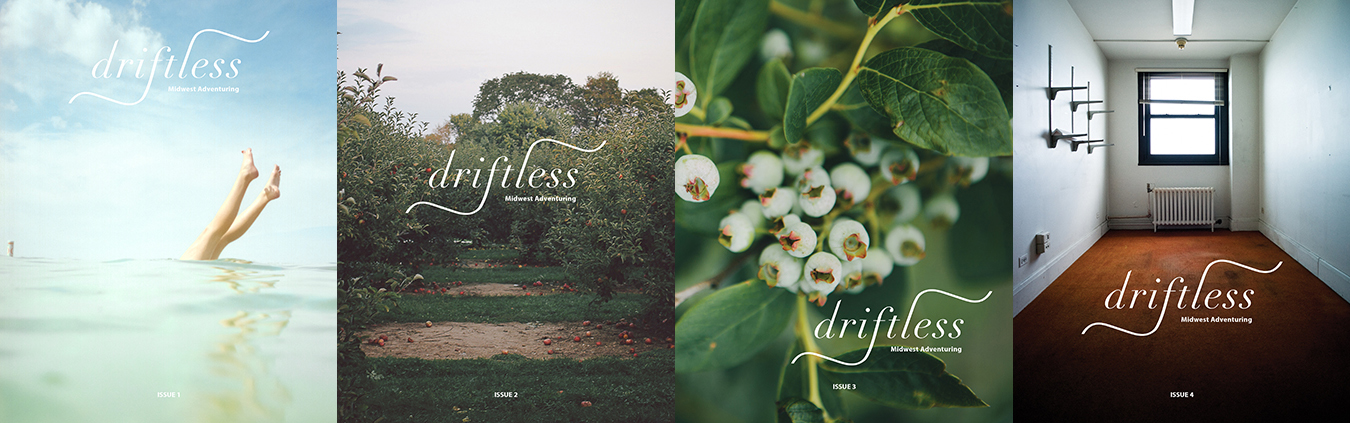 """Driftless"" issues (l-r): Issue 1 cover photo by Leah Fithian, Issue 2 cover photo by Shelly Westerhausen, Issue 3 cover photo by Evan Perigo, and Issue 4 cover photo by Jason Robinette. 