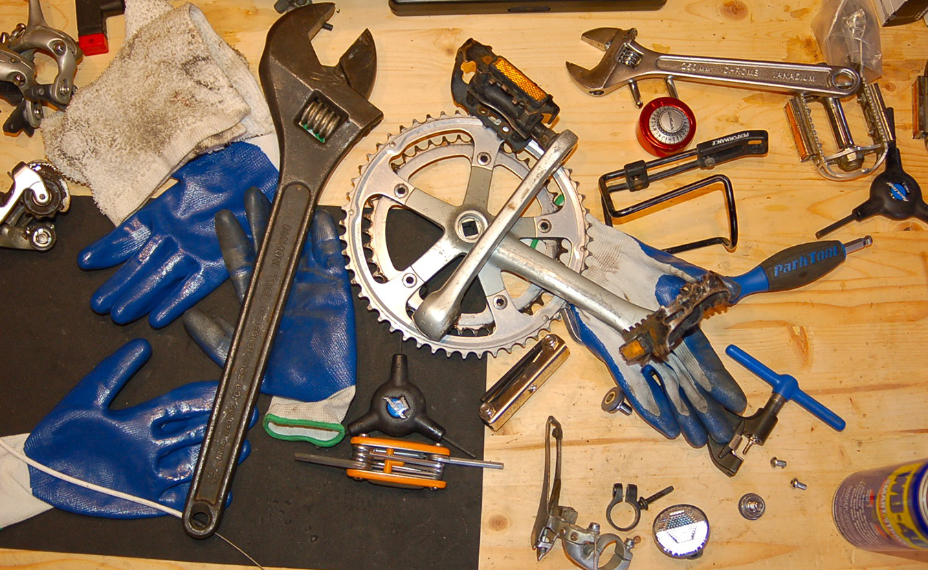Wright's work bench in the middle of breaking down Welsch's bike. | Photo by Sam Sveen