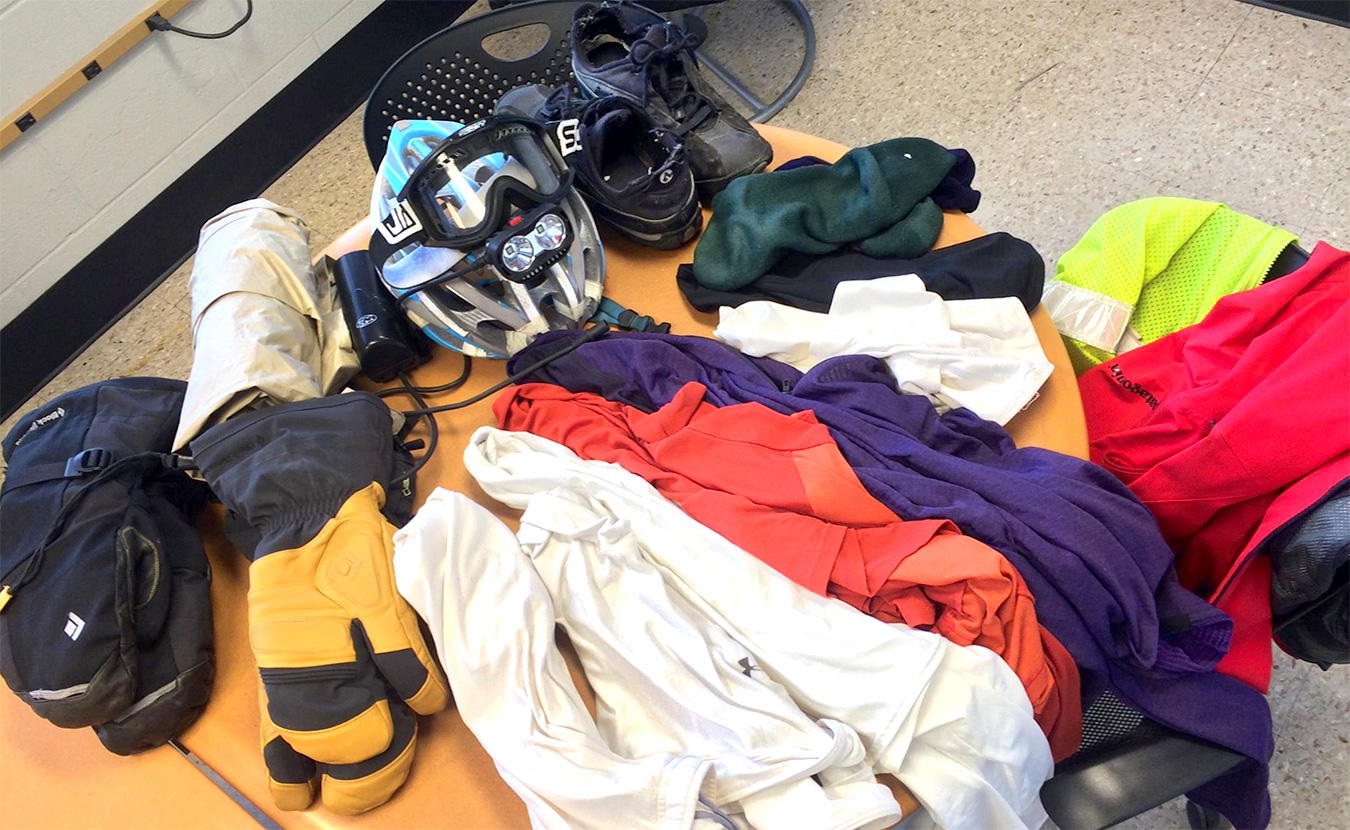 "Biking in the winter calls for a lot of gear — Nicholas Port used all of these items (some worn, some backup) for one 15- to 20-minute commute in 8°F weather. <a href=""https://www.facebook.com/photo.php?fbid=592006740929857&amp;set=g.534201990028303&amp;type=1&amp;theater"" target=""_blank"">Click here to see the full list.</a> 