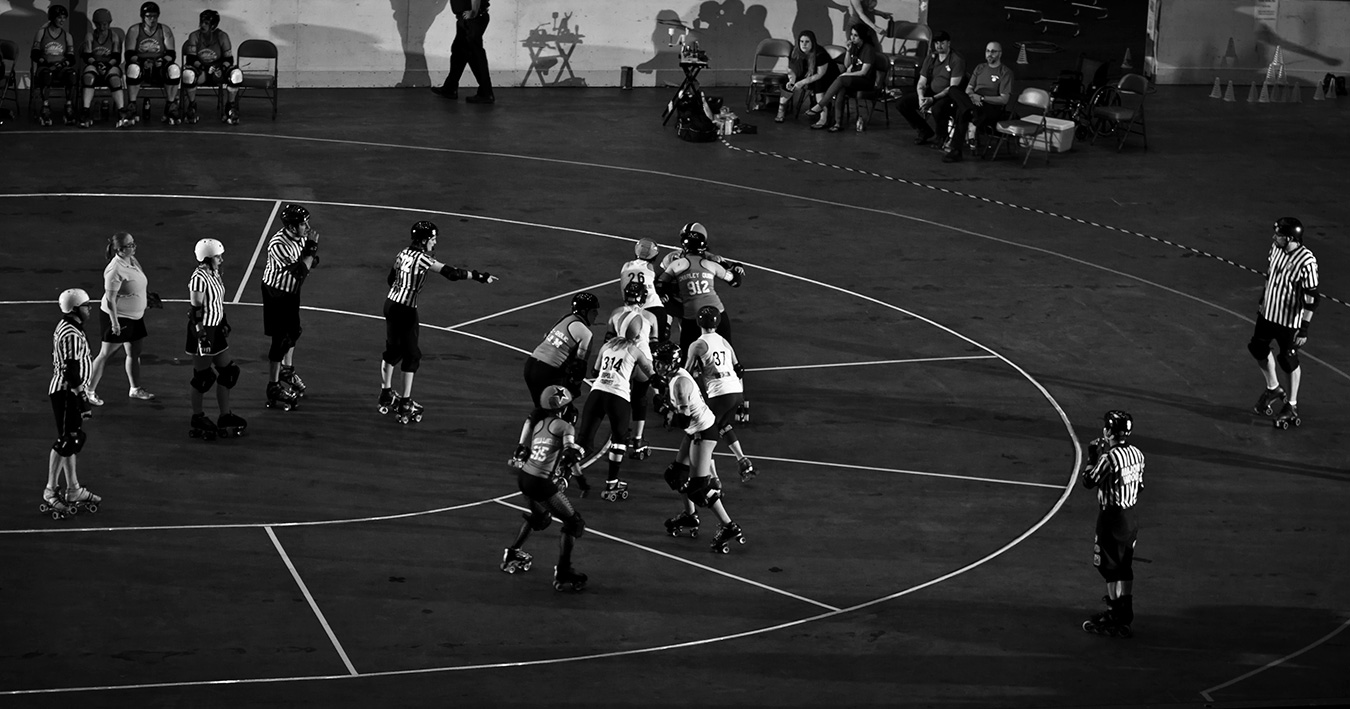 """Tofu (second from left) spends many of her weekends traveling for roller derby, including with Bleeding Heartland Roller Derby, pictured here competing in Nashville, Tennessee, in 2014. 