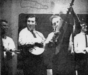 "The Black Mountain Boys in 1964: (l-r) Scott Hambly, Jerry Garcia, Sandy Rothman, and Geoff Levin. | Photo courtesy of <a href=""https://www.flickr.com/photos/zoooma/2843691800/"" target=""_blank"">Zoooma</a>, Creative Commons"