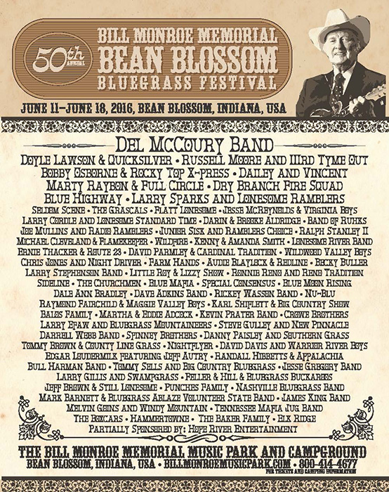 The Bean Blossom Bluegrass Festival's 2016 lineup. | Courtesy photo