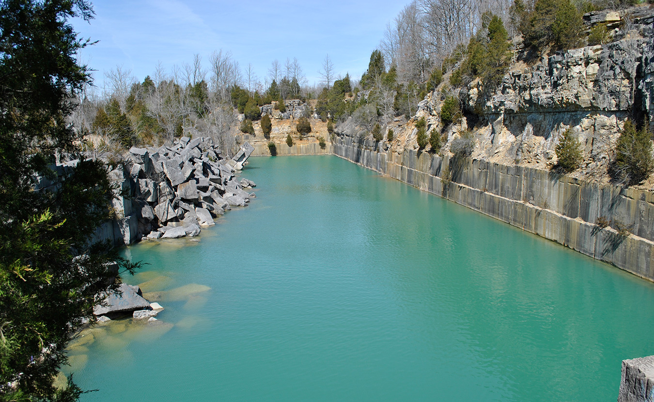 Rooftop Quarry, shown here prior to this new effort, has been an iconic place for swimming, but it is on private land. Trespassing isn't just a liability for the company or an inconvenience for company personnel, Nathan Waterford, director of environmental health and safety, says. The burden spreads to others, as well, and the problem has increased in the past year. | Courtesy photo