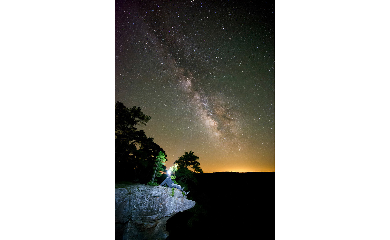 Clark captured this shot on a visit to a pedestal of rocks with his brother in the Ozark Mountains. This photo of the Milky Way was taken on a dark, clear night at about 3 a.m. | Photo by Nathan Clark