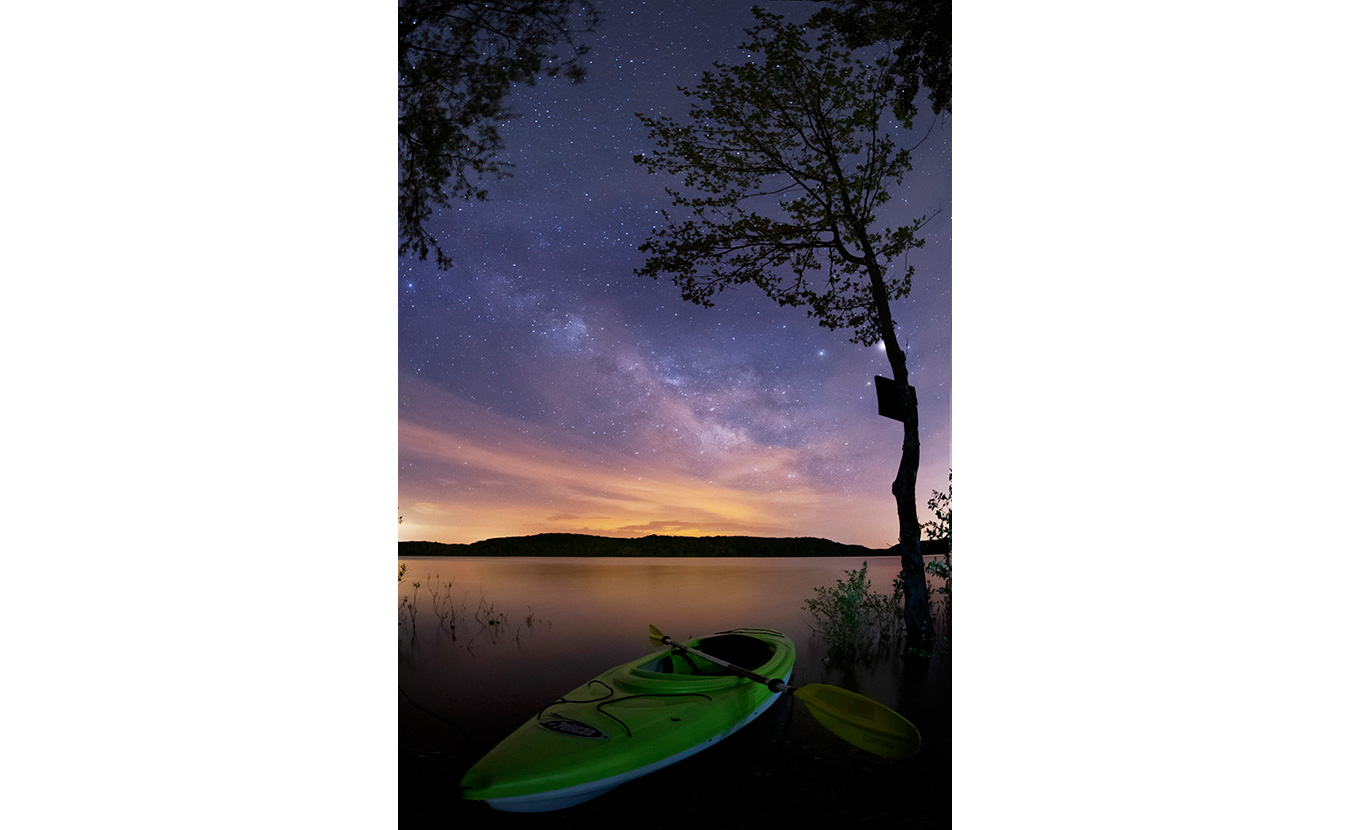 Clark took a kayak for a solo camping trip one night in early May on Lake Monroe. Because it was a new moon, it was the perfect time to snap some Milky Way shots. This photo is from about 2 a.m. | Photo by Nathan Clark