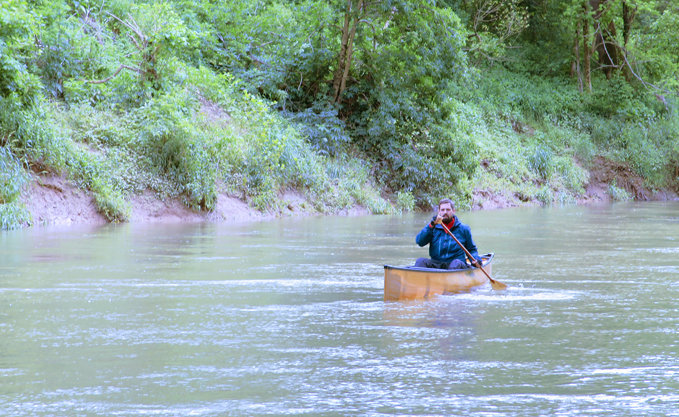 Waterford, pictured here paddling a canoe on on the Blue River in southern Indiana, says getting on the water doesn't have to be an expensive or extensive process. | Photo by Limestone Post