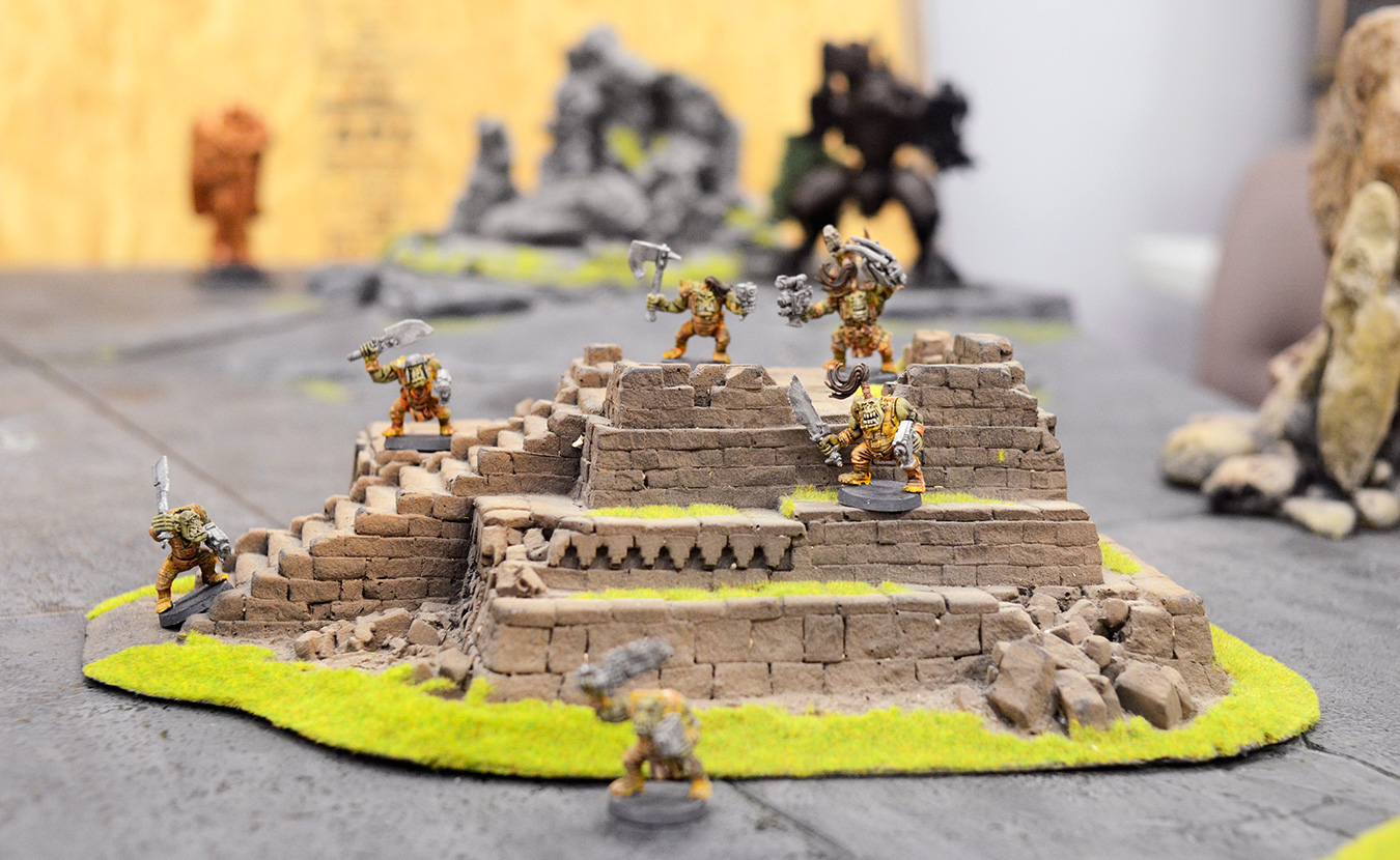 "Orks stand their ground in ""Warhammer 40,000"" in the downstairs gaming rooms of The Game Preserve. There are a variety of opportunities for tabletop gaming in Bloomington. 