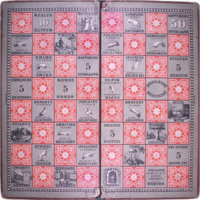 """The Checkered Game of Life"" — which focused on worldly activities, such as attending college, marrying, and getting rich — was first produced in 1860. 