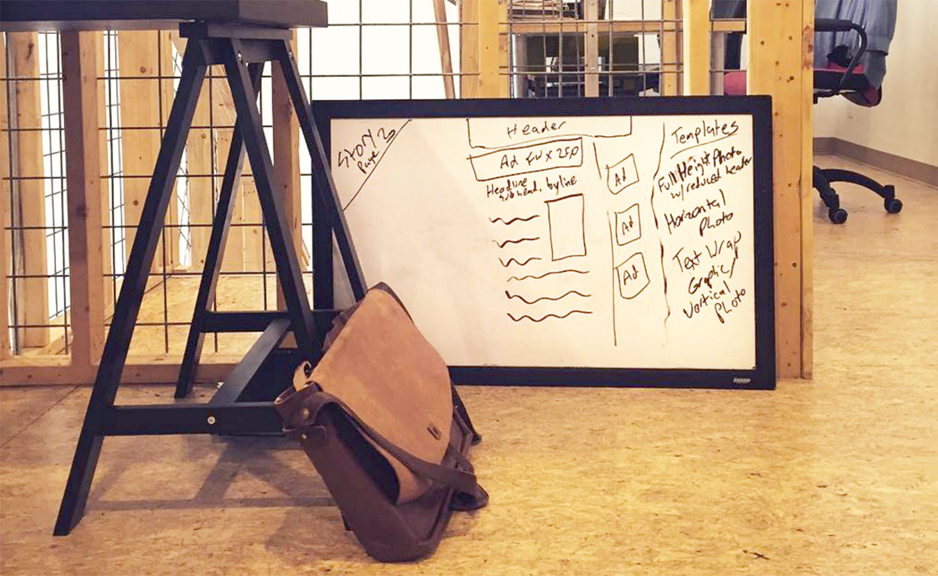 A prototype of LimestonePostMagazine.com is laid out on the whiteboard — in our first office, the 615 Collective. | Photo by Lynae Sowinski