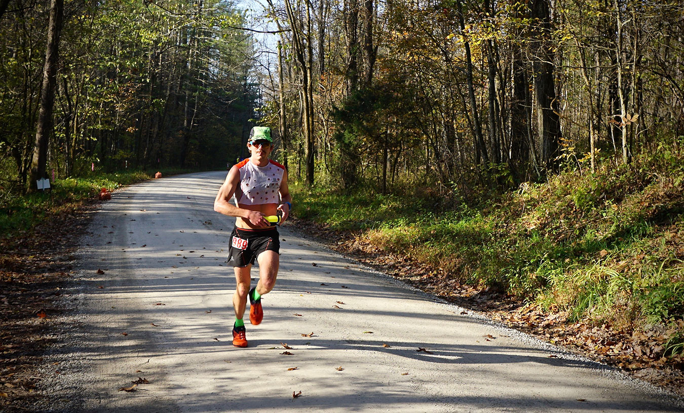 The Tecumseh Trail Marathon's overall men's winner, Matt Flaherty of Bloomington, beat the course record by six seconds. | Photo by Alison Polley