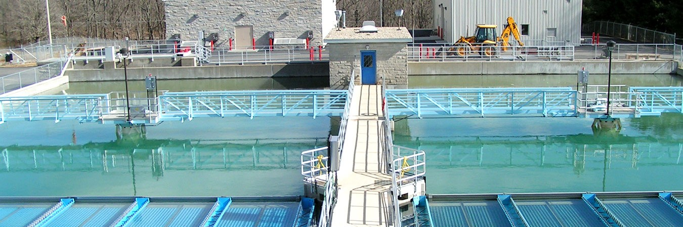 Two sediment basins at the Monroe Water Treatment Plant near Lake Monroe, Bloomington's water source. Journalist Michael Glab looked into reports about contaminants in Bloomington's water supply and discovered that drinking any water is a gambler's game.   Courtesy photo