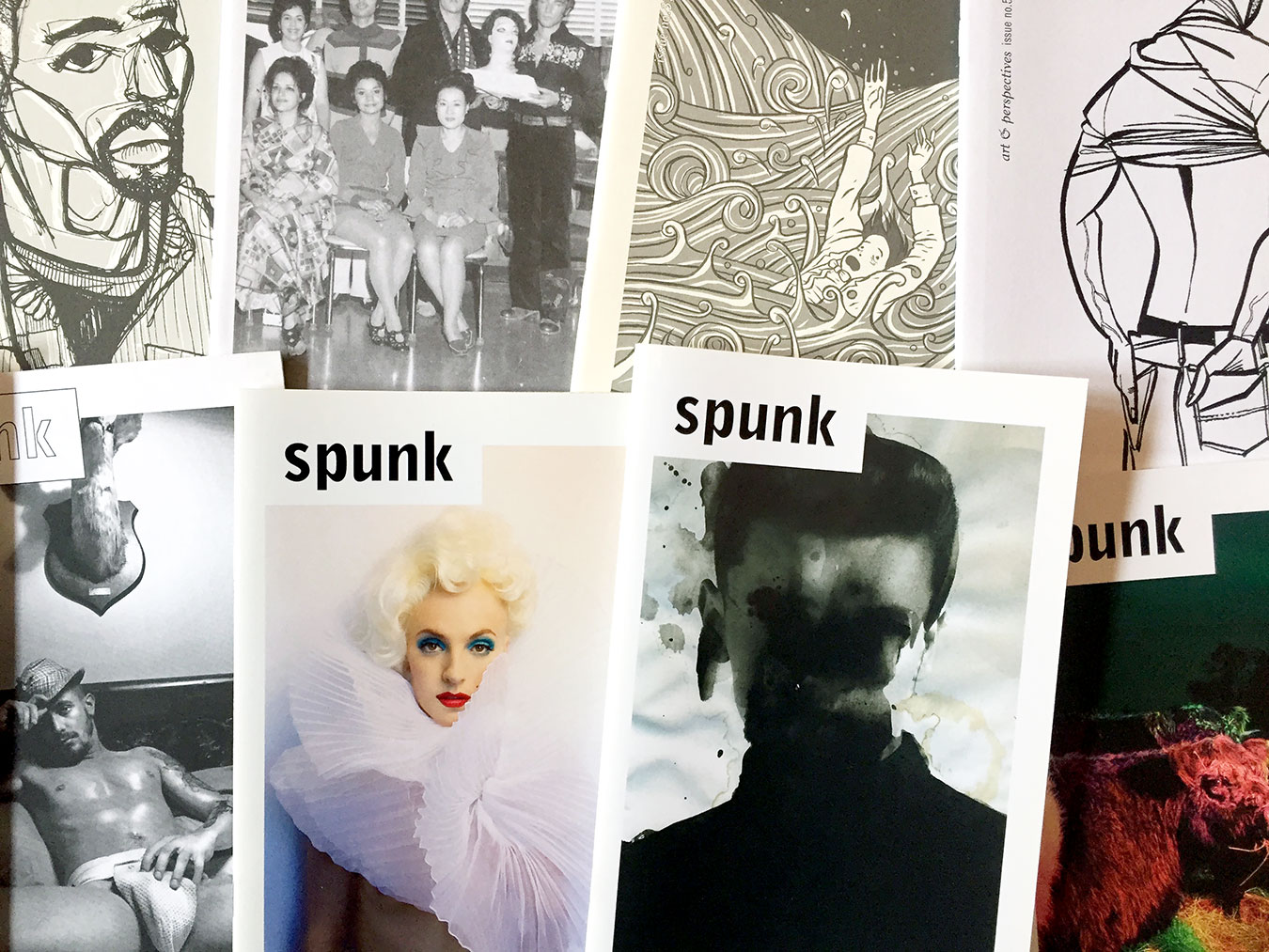 "A selection of covers of Aaron Tilford's ""Spunk"" art magazine. Tilford wrote in the 10th issue that the intention has always been ""to inspire, to explore, to create, and to see things in a new way."" 
