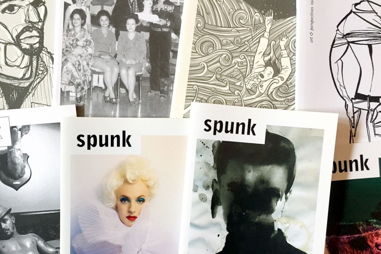 """A selection of covers of Aaron Tilford's """"Spunk"""" art magazine. Tilford wrote in the 10th issue that the intention has always been """"to inspire, to explore, to create, and to see things in a new way."""" 
