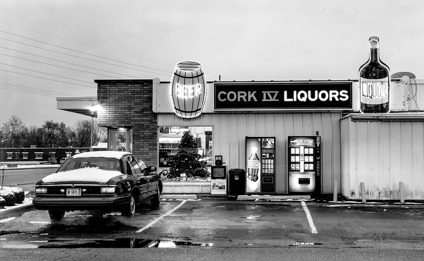 Cork Liquors at sunset in Columbus, Indiana. | Photo by Adam Reynolds