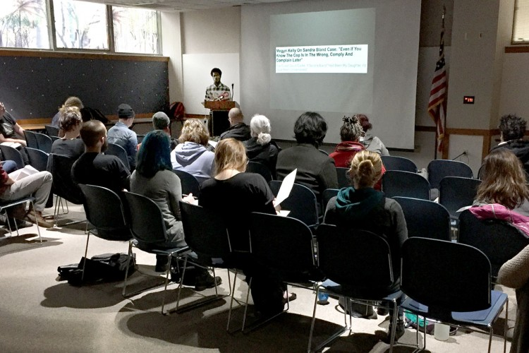 """In the so-called """"post-truth"""" era, says Elijah Pouges, pictured here giving a lecture on media literacy at Inaugurate the Revolution in January, """"the reasons to be media literate have never been so dire."""" 