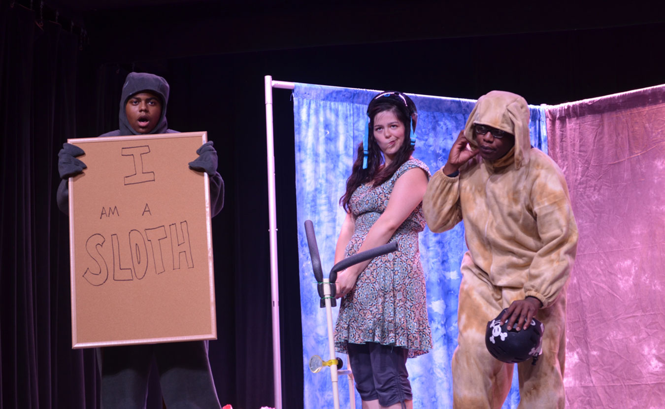 "A Reimagining Opera for Kids (ROK) performance of ""Rufus and Rita,"" featuring (l-r) Dexter Griffin as the Sloth, Alejandra Martinez as Rita, and Marquese Carter as Rufus. 