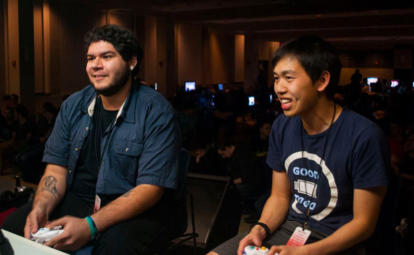 "West Coast ""Super Smash Bros."" competitors, Joey ""Lucky"" Aldama and Binyan ""Darkatma"" Lin, at Smash at IUB's Full Bloom 2 tournament. 