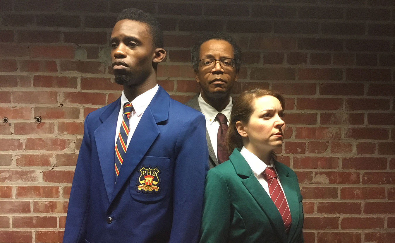 "The cast of Art of Africa's production of ""My Children! My Africa!"" by Athol Fugard: (l-r) Yusef Agunbiade as Thami, Ansley Valentine as Mr. M., and Tara Chiusano as Isabel. 