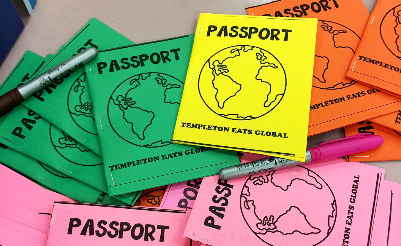 "Students at Templeton Elementary School participated in Templeton Eats Global by trying foods from all over the world and moving from station to station with passports to mark their ""travels."" 