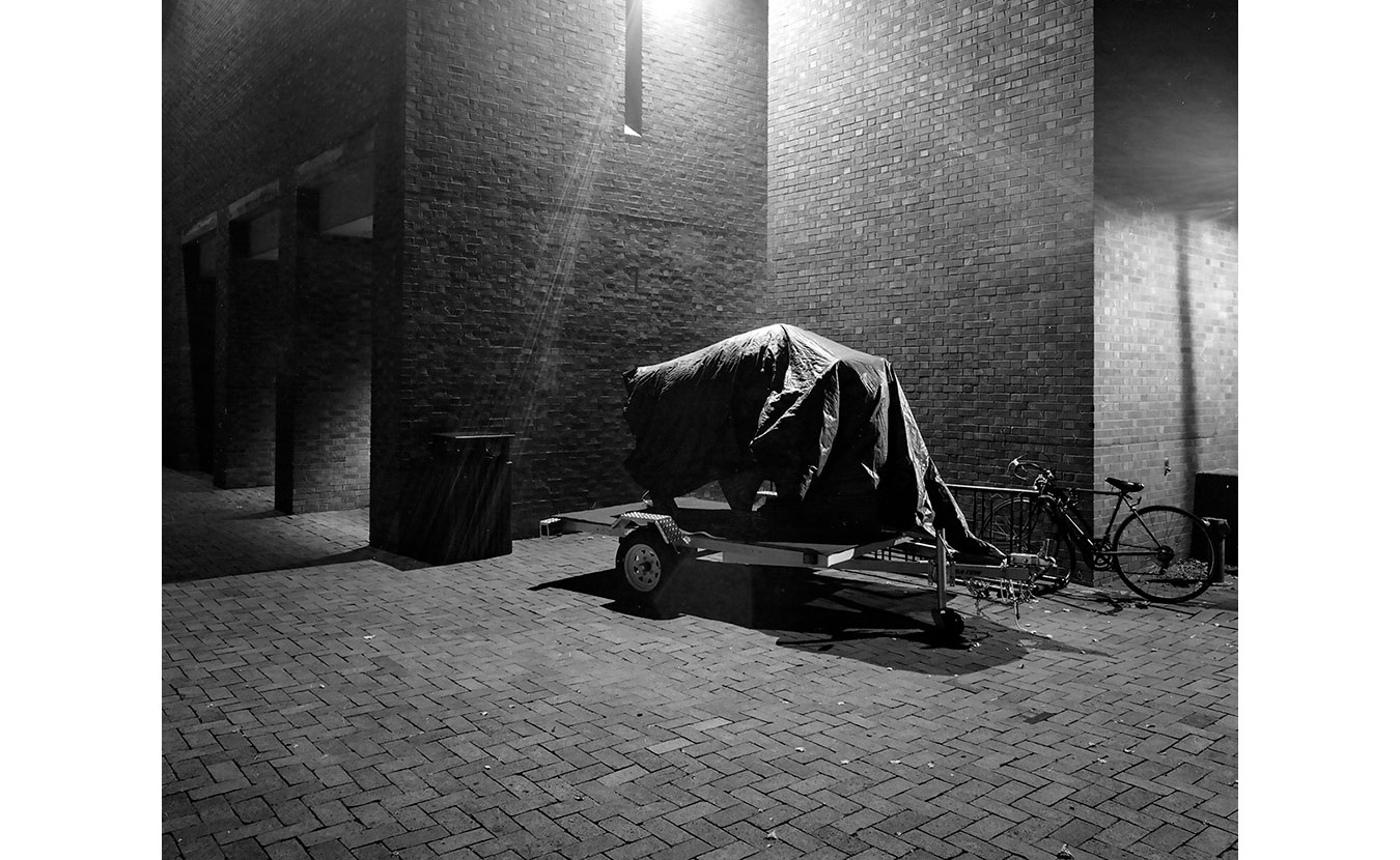 """The Indiana """"Bison-tennial"""" statue under wraps outside of the Bartholomew County Public Library in Columbus, Indiana. 
