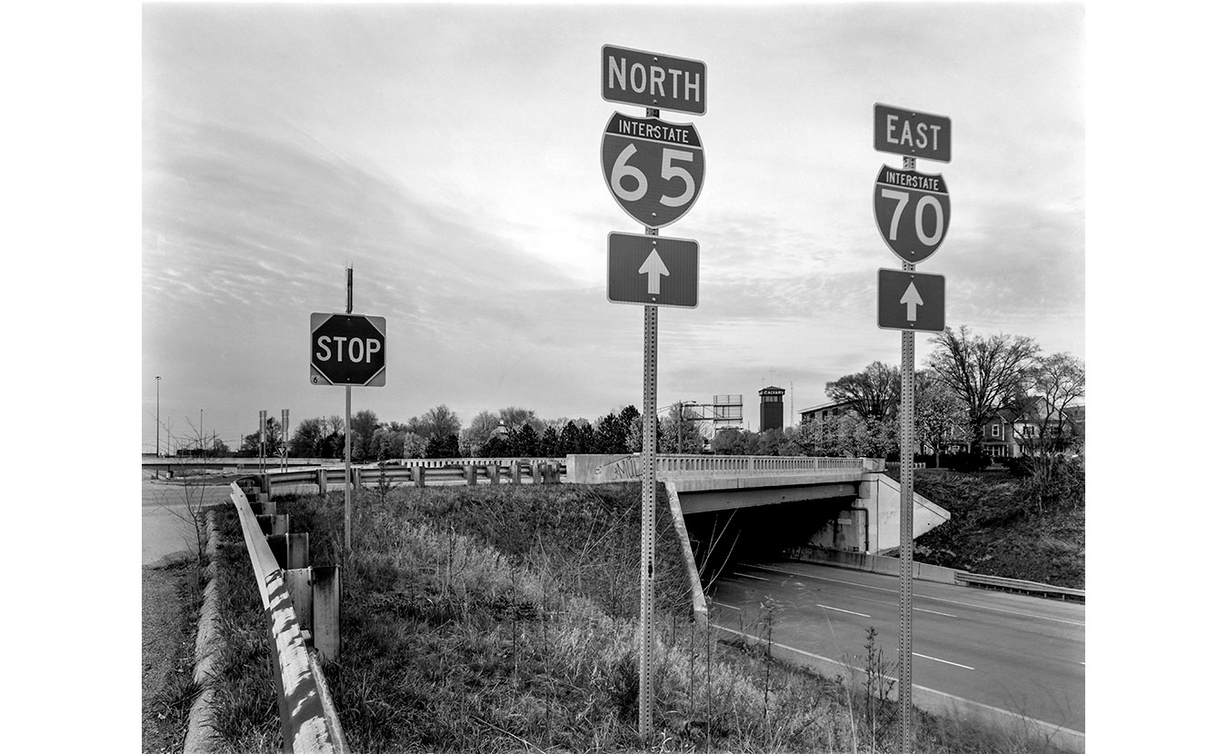 An overpass along I-65 and I-70 in Indianapolis, Indiana.   Photo by Adam Reynolds