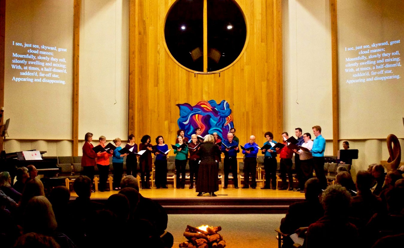 """Voces Novae, pictured here giving a concert in February at Unitarian Universalist Church, is celebrating their 20th anniversary with a concert called """"The Art and Science of Happiness"""" on Saturday, May 13. 