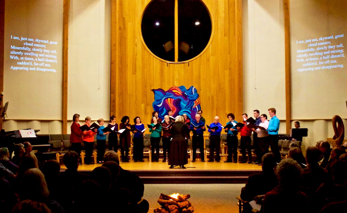 "Voces Novae, pictured here giving a concert in February at Unitarian Universalist Church, is celebrating their 20th anniversary with a concert called ""The Art and Science of Happiness"" on Saturday, May 13. 