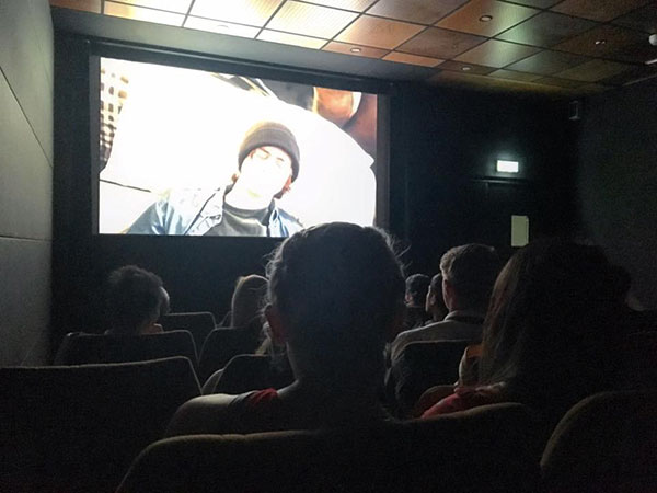 "Jaeger's short film ""Lost Dog"" on the screen of a 34-seat theater during Cannes. 