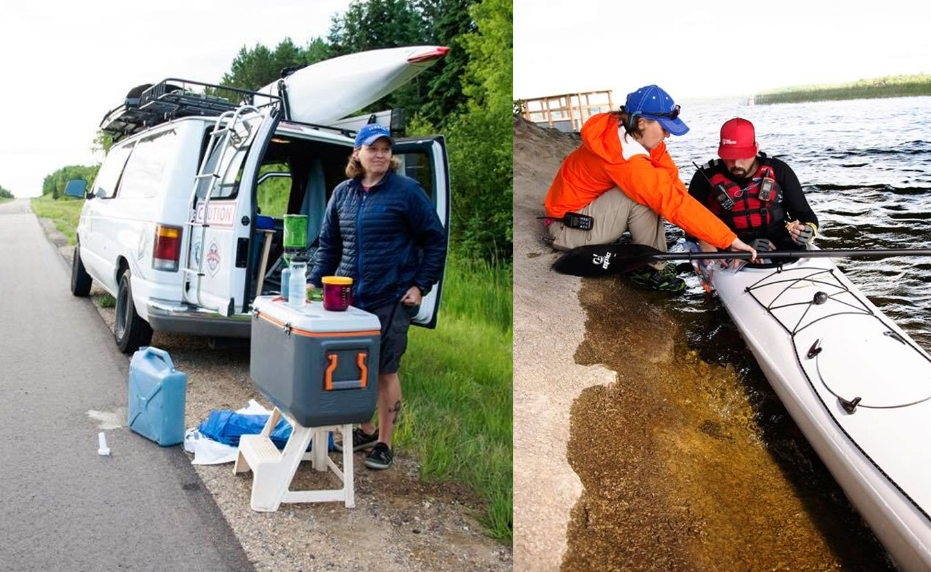 (left) Support-team member Traci Kroupa makes coffee on the roadside and (right) helps feed Waterford during one of his pit stops along the Mississippi River. | Courtesy photos