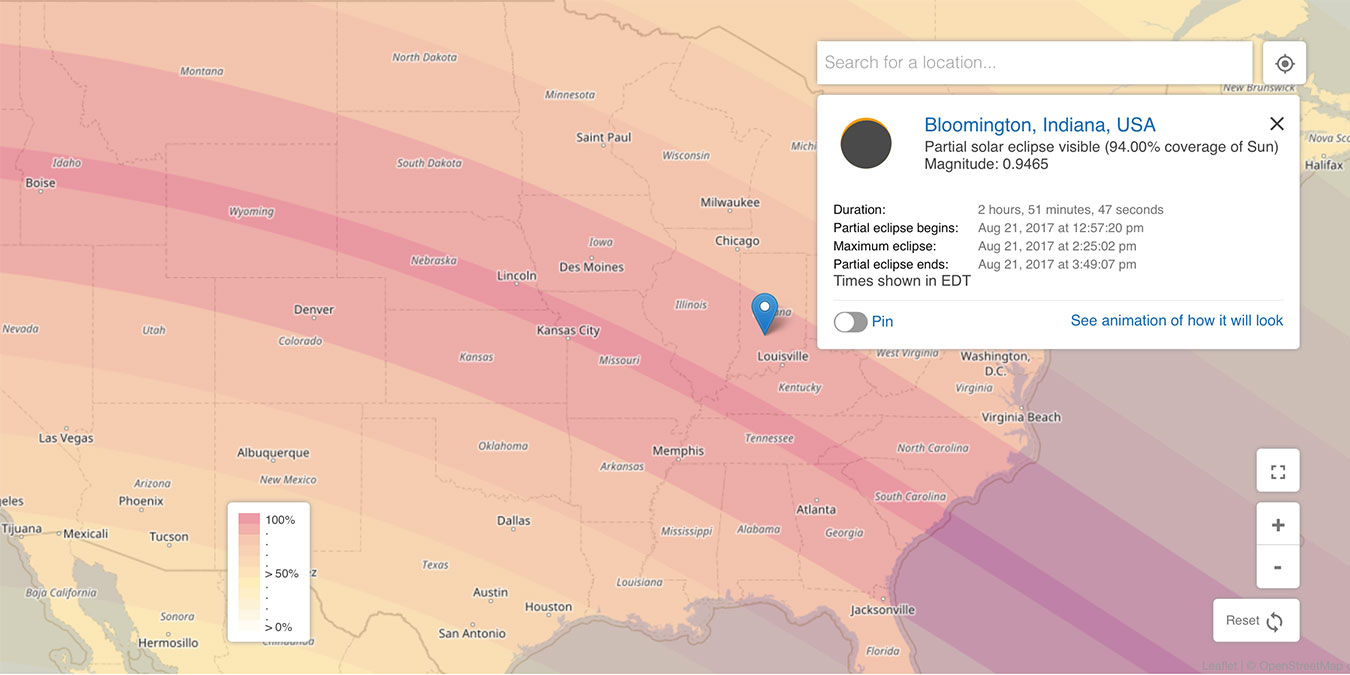 "While a partial eclipse will be passing over Bloomington, the total eclipse's path crosses nearby through our neighbors of Illinois and Kentucky. | Illustration courtesy of <a href=""https://www.timeanddate.com/eclipse/map/2017-august-21?n=105"" target=""_blank"">timeanddate.com</a>"