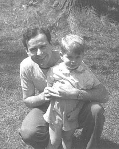 "RLJ with Larry on his third birthday in the summer of 1945. | Photo by Vernice Baker Lockridge. Photographs from <a href=""http://www.raintreecounty.com/bookphot.html"" target=""_blank"">raintreecounty.com</a> are used with permission of The Estate of Ross Lockridge, Jr."