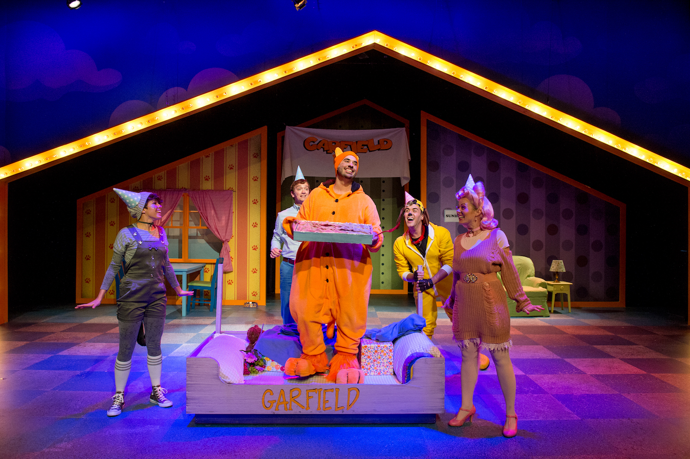 Garfield gets his cake (and definitely eats it) in Cardinal Stage Company's first Cardinal for Kids performance of the 2017-18 season, 'Garfield: The Musical With Cattitude.' | Photo courtesy of Blueline Media Productions
