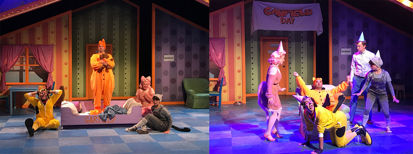(left) Actor Jason Slattery makes his Cardinal Stage Company debut as Garfield. (right) 'Garfield' brings to life, from left to right, Arlene (Ashley Dillard), Garfield (Jason Slattery), Odie (Chris Krenning), Jon (Reid Henderson), and Nermal (Anna Butler).