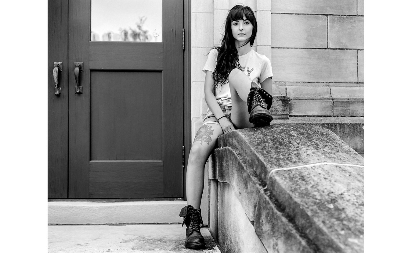 Katherine Thomas sits outside of the Monroe County History Center. | Photo by Adam Reynolds [Click arrows above for more photos.]