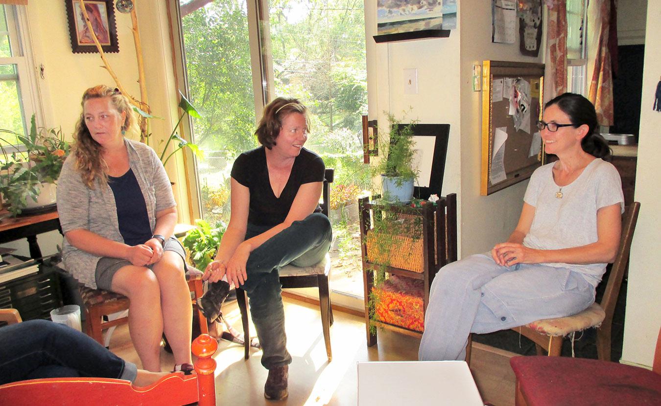 Artists (l-r) Wiesenhahn, Pearce, and Lagodzki.   Photo by Yaël Ksander
