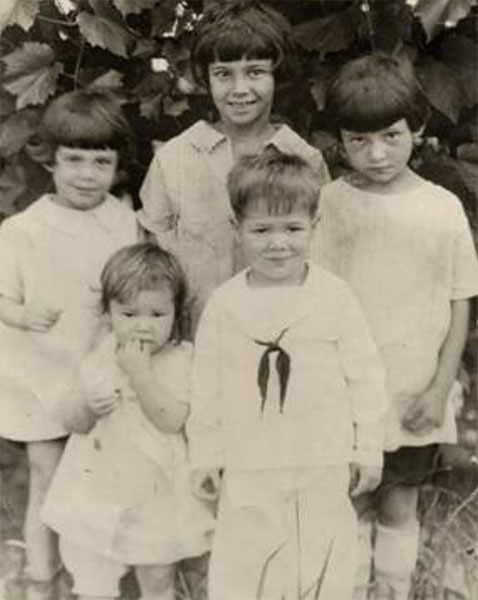 The Peacock children around the time when they were headed to the orphanage: (clockwise from left) Dot, Shirley (age 8), Georgia, Donald, Roberta. | Courtesy photo