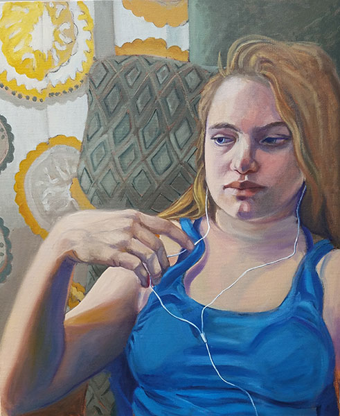 "Ellen Starr Lyon's ""Music For One: Odessa at 12,"" oil on canvas.   Image courtesy of Ellen Starr Lyon"