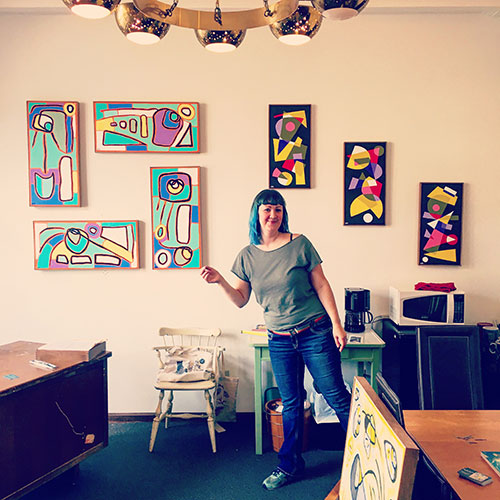 LP has a beautiful office on the courthouse square, filled with abstract paintings by local artist Carrie Markey.