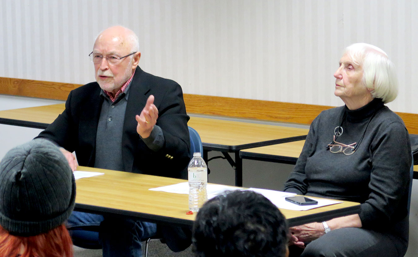 Jim Allison and his wife, Tomi, discuss democratic reforms — including the Electoral College — at Inaugurate the Revolution in January 2017 at the Monroe County Public Library. | Limestone Post