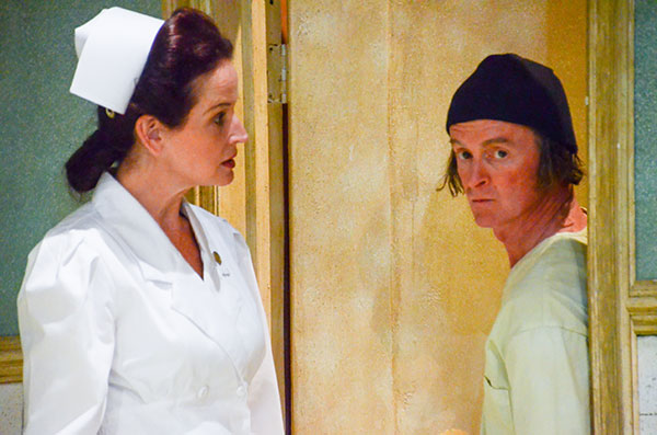 "Indy-based Equity actor Constance Macy as Nurse Ratched with Mike Price as Randle P. McMurphy in Cardinal Stage's 2016 production of ""One Flew Over the Cuckoo's Nest."" She has also performed at the Indianapolis Repertory Theatre and the Phoenix Theatre. 
