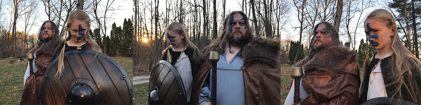 Maynard and his son bond over a Viking photo shoot. | Courtesy photos