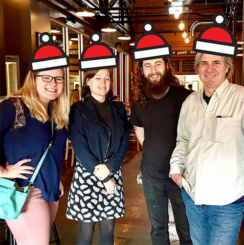 Happy holidays, from the LP staff! (l-r) Lynae Sowinski, Emily Winters, Dason Anderson, and Ron Eid. | Limestone Post