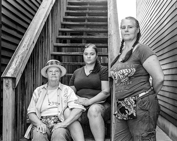 "Photographer Adam Reynolds took this photo of three generations of Bloomington women for his 4x5 field camera photo series, ""Places, Things, People."" (l-r) Gail Trout, Kat Stonecipher, and Penny Trout-Stonecipher. 